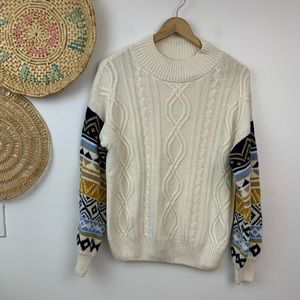 Blu pepper cream contrast sleeve cable knit